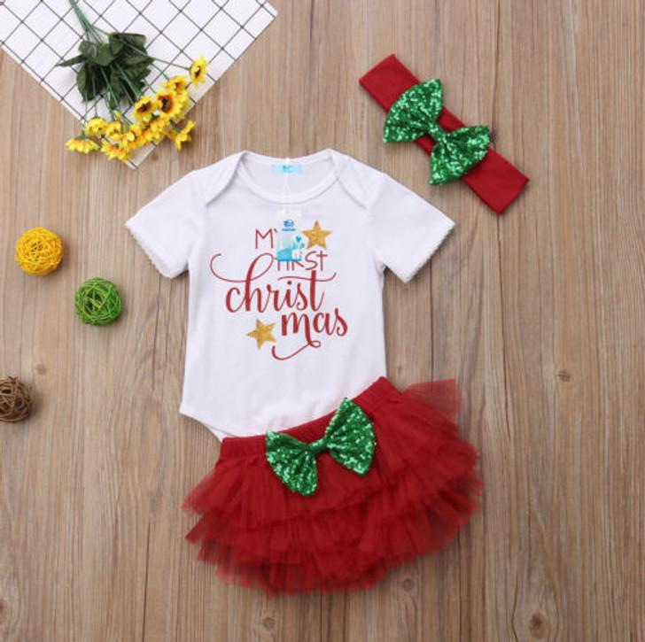 3Pcs My 1st Christmas Baby Girls Set