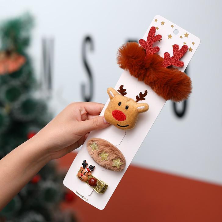 Christmas Headwear 4pcs Christmas Elk Hair Clips Hairpin for Babies Girls