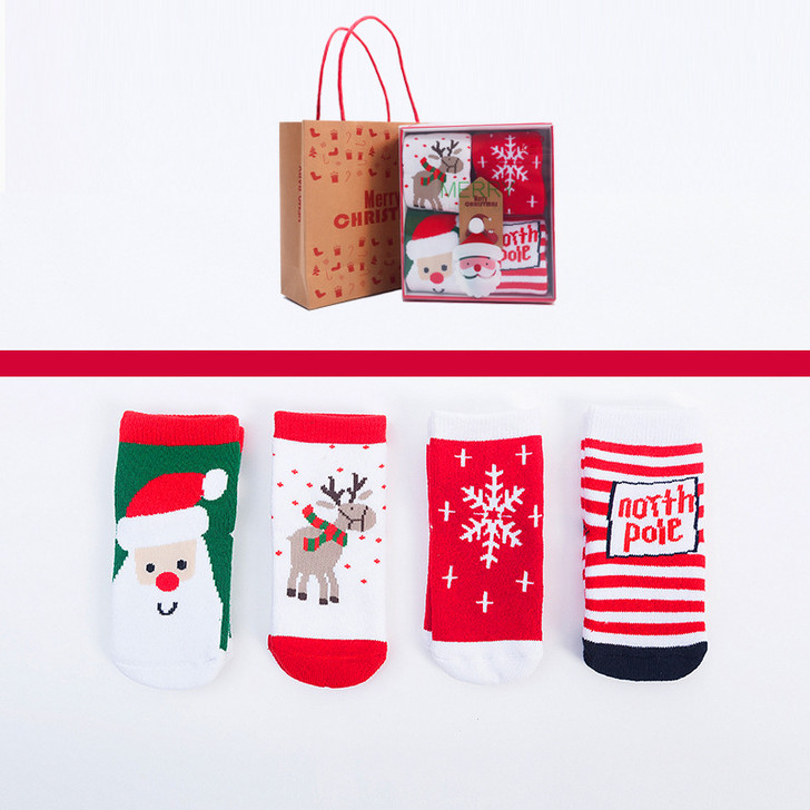 Christmas North Pole Baby Socks Packaged In Gift Box