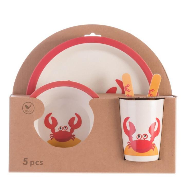 5Pcs Crab Bamboo Kids Plates and Bowls Sets