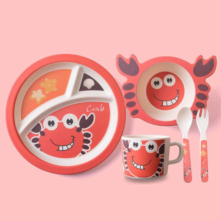 5Pcs Cute Crab Bamboo Kids Plates and Bowls Sets