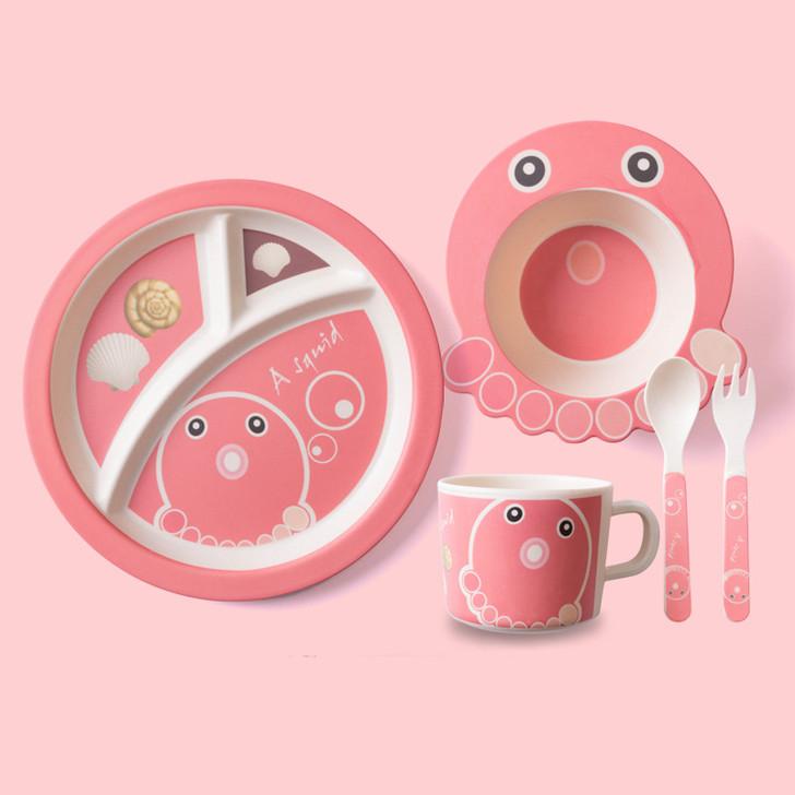 5Pcs Cute Octopus Bamboo Kids Plates and Bowls Sets