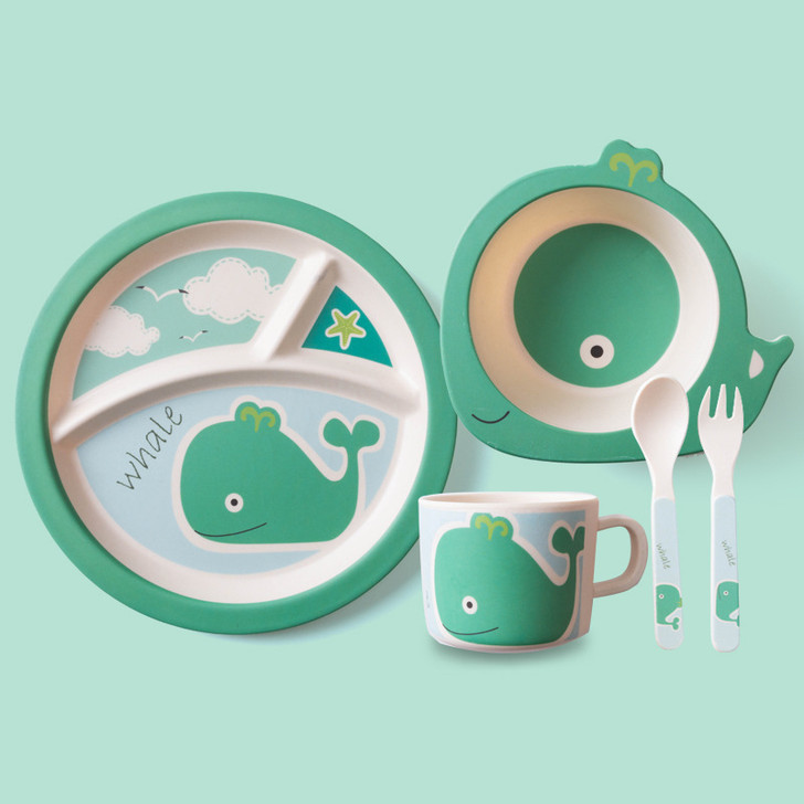 5Pcs Cute Whale Bamboo Kids Plates and Bowls Sets