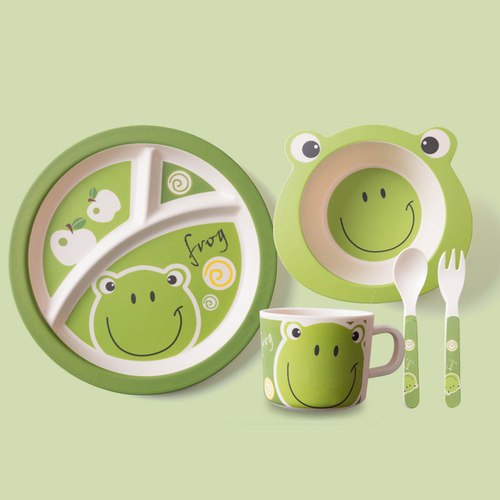 5Pcs Cute Frog Bamboo Kids Plates and Bowls Sets