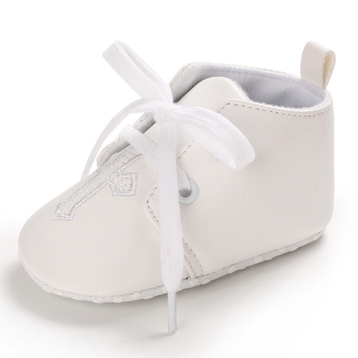 Christening Baptism White Leather Shoes Cross