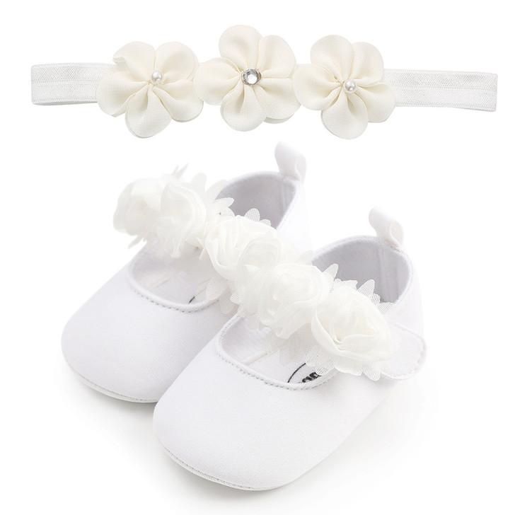 White Mary Jane Baptism Dress Shoes W Headband
