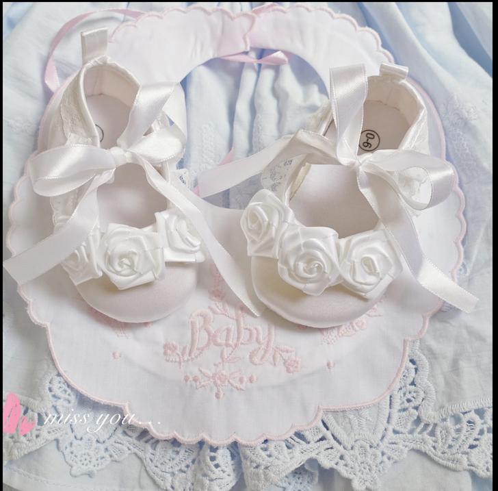 Baptism White Flower Satin Ribbon Baby Girl Shoes