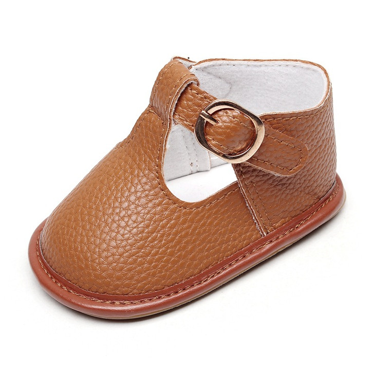 Baby Brown Shoes hard sole t-strap Sandals