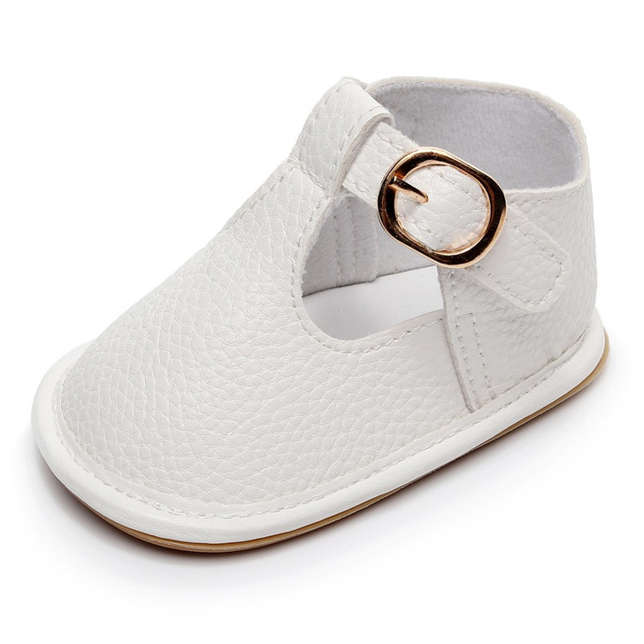 Baby White Shoes hard sole t-strap Sandals