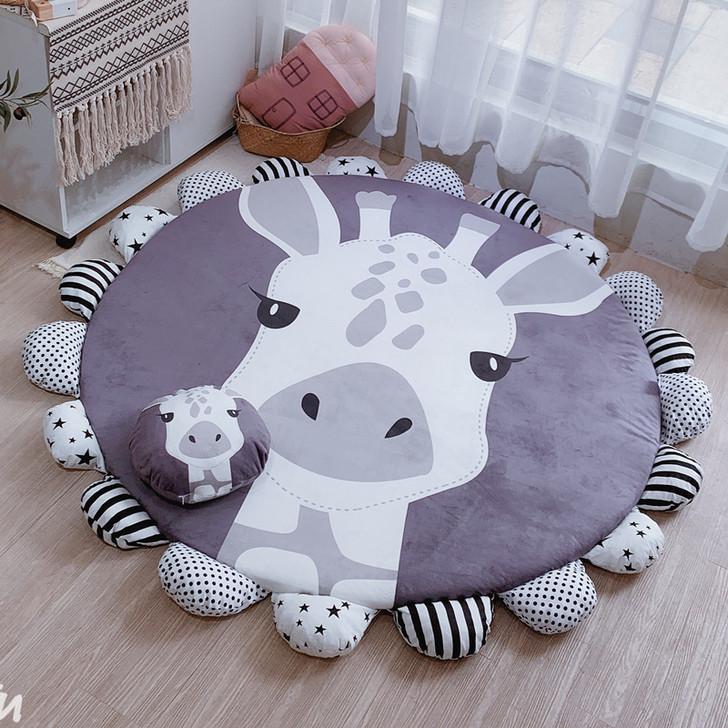 Padded Big Round Tummy Time Play-mat Giraffe 145-165 cm