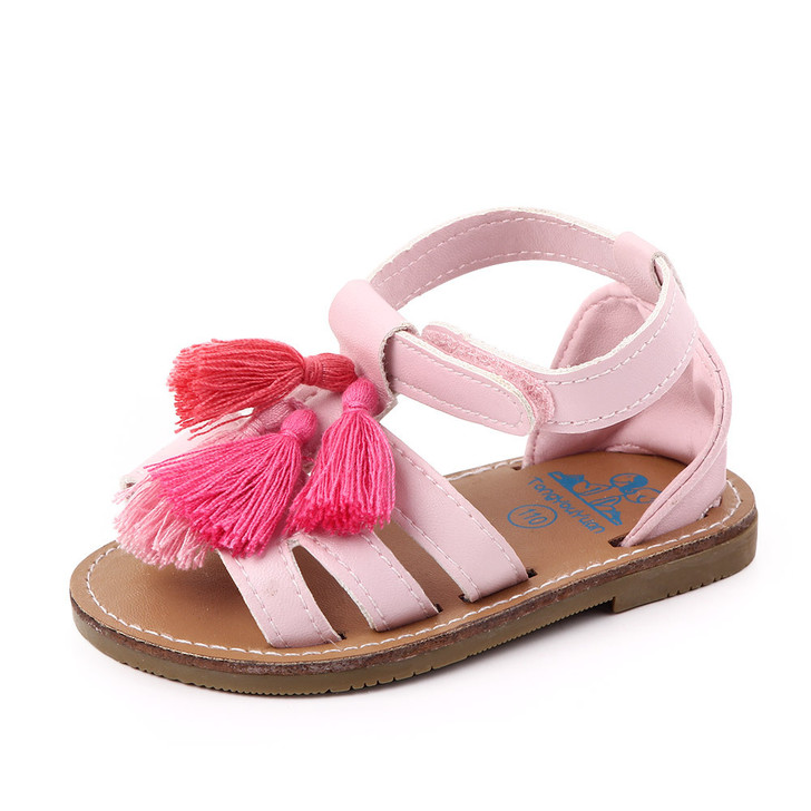 Baby Bubble Gum Pink Sandals Tassel Shoes