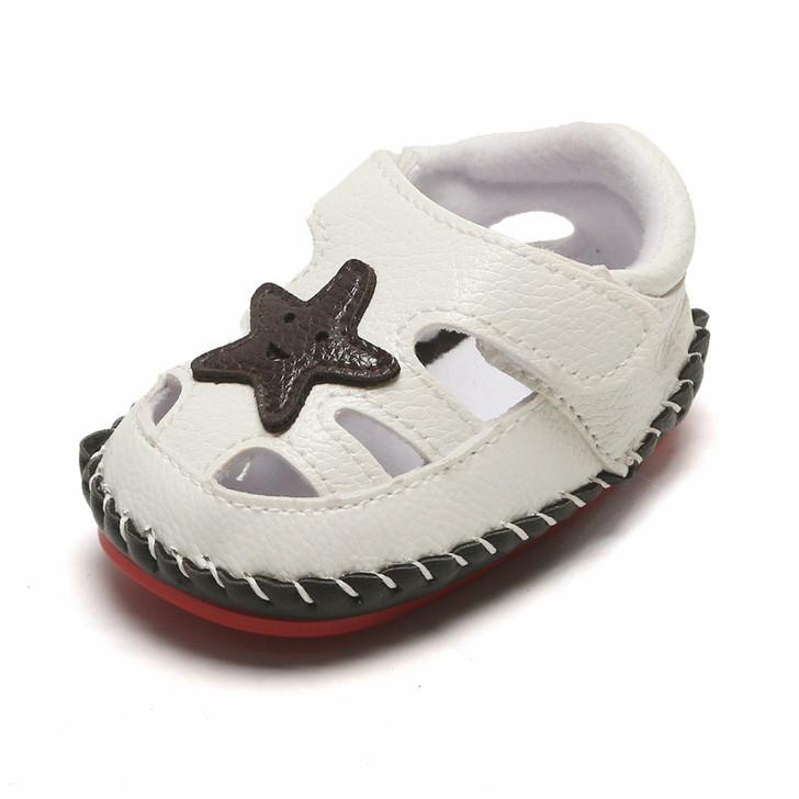 White Baby Sandals Star Pattern