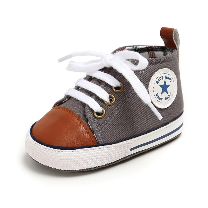 Steel Grey-Cinammon First Walkers Baby Sneaker