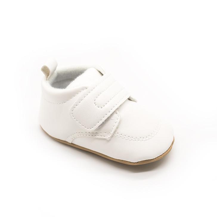 White Baby Boy Hook Loop Formal Shoe