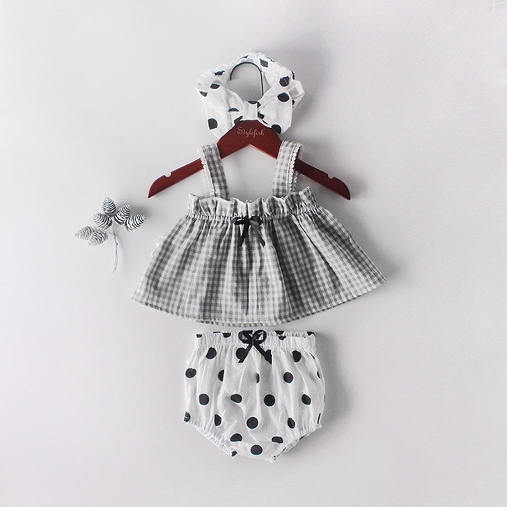 Summer Baby Girl 3Pcs Polka Dots Bloomer Set