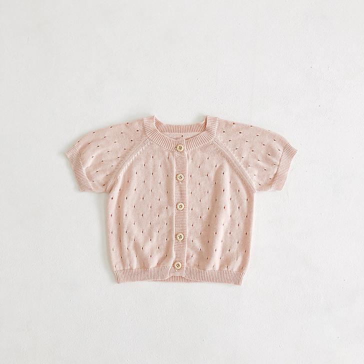 Infant Girls Sweater Short Sleeve Peach Pastel Cardigan