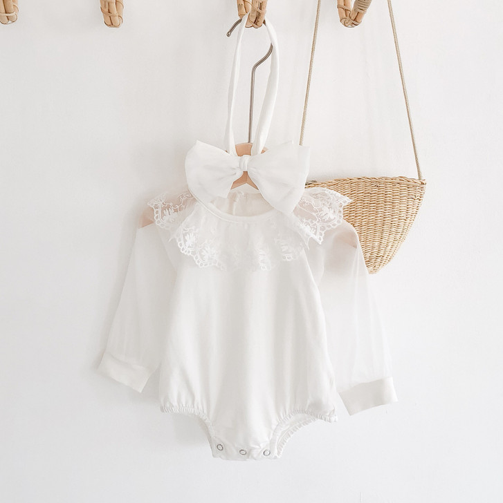 Infant Lace Romper Chiffon Sleeve With Headband
