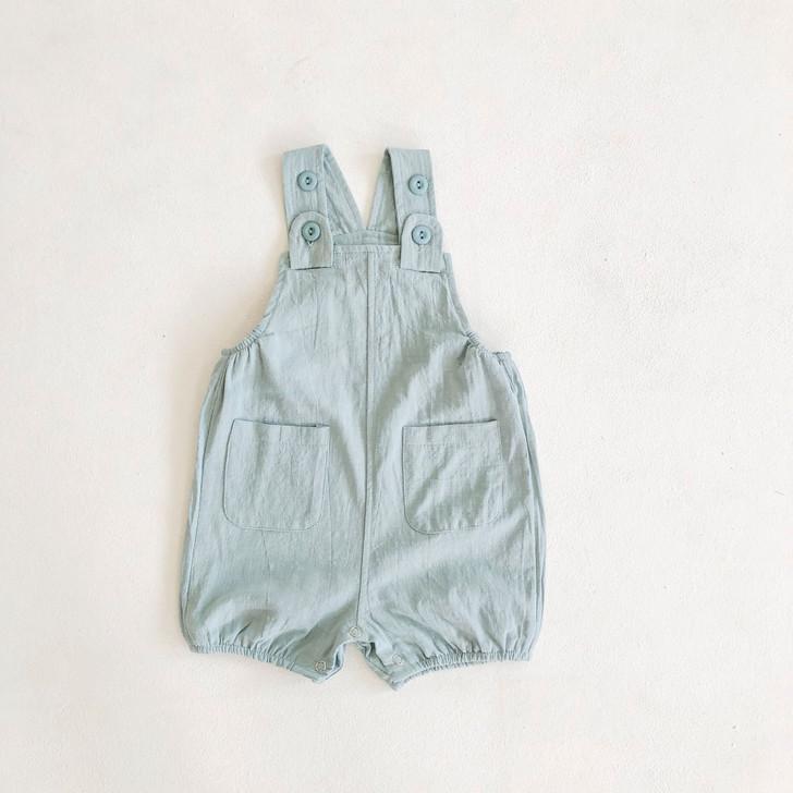 Baby Boy Summer Sea Foam Green Linen Overalls
