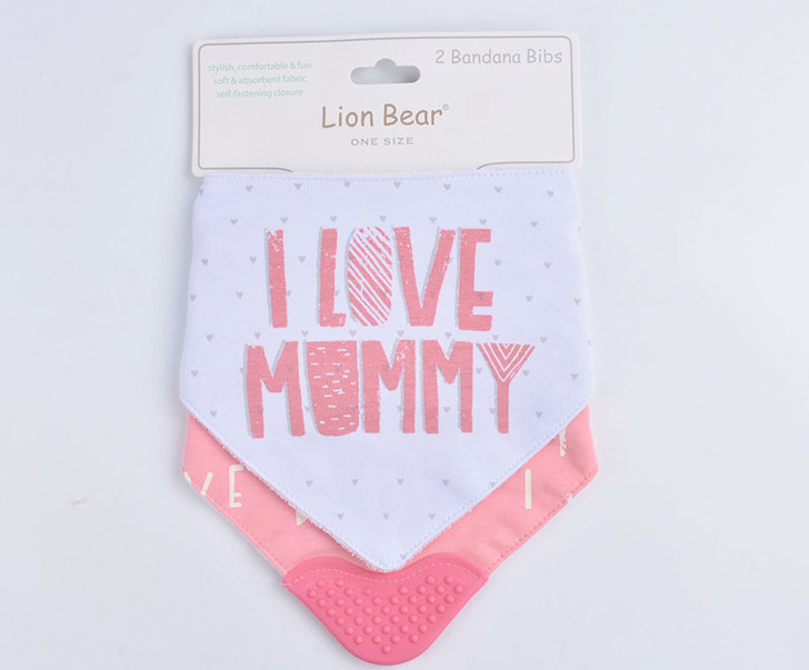 Lion Bear 2 Bandana I Love Mommy Bibs
