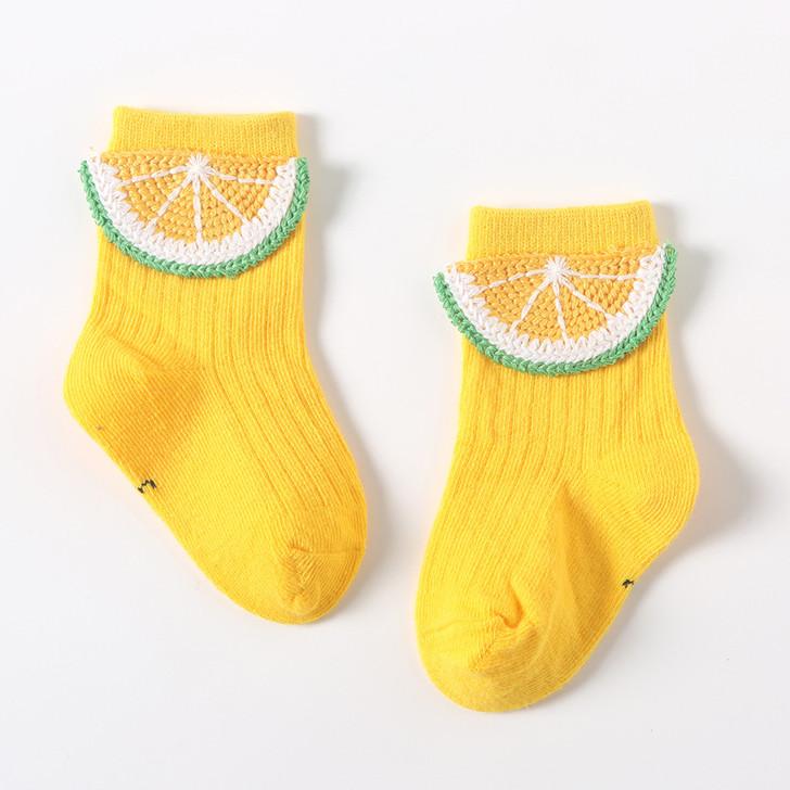 Yellow Lemon Embroidered Socks