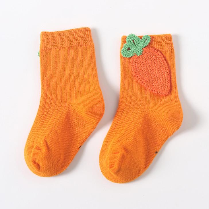 Orange Carrot Embroidered Socks