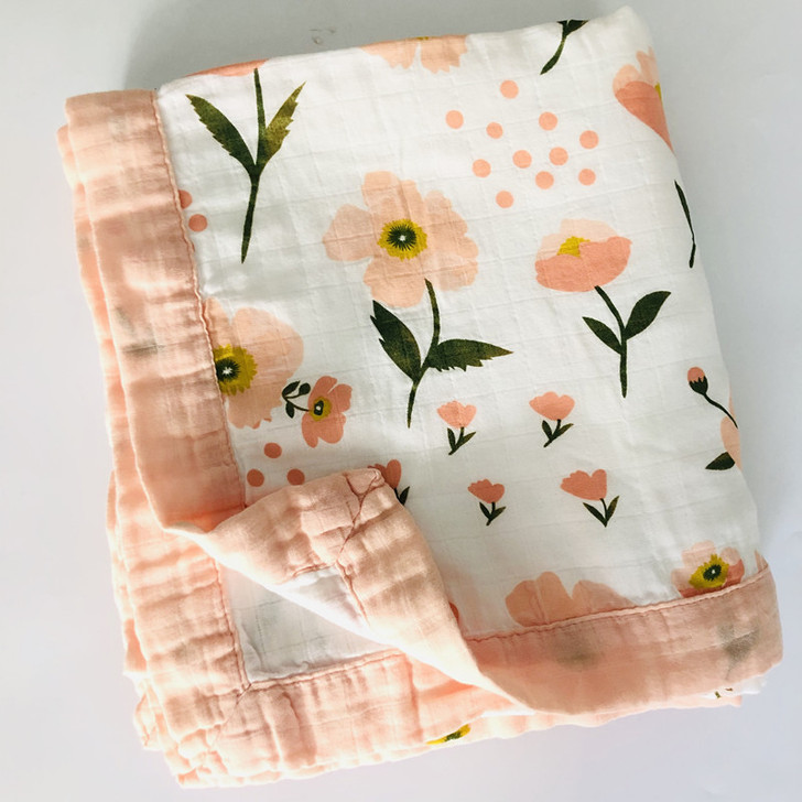 Four Layer Floral Print Bamboo Baby Swaddling