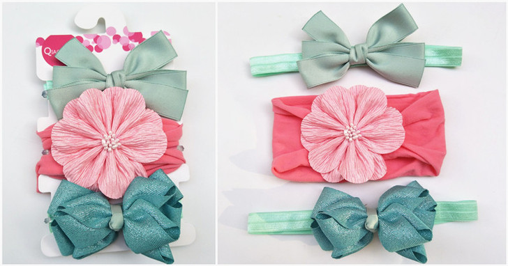 Three-Piece Baby Pink & Blue Bow Hairband