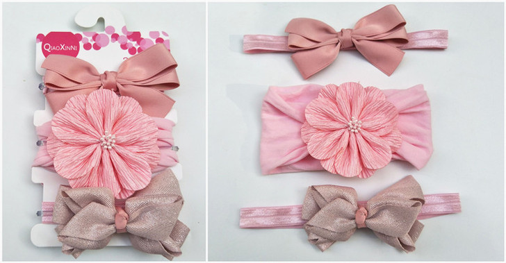 Three-Piece Baby Pink & Blue Bow Hairband