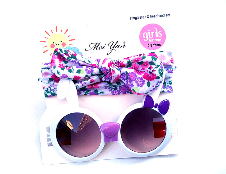 Girls' Mermaid Knot Pink Bunny Headband and Sunglasses Set