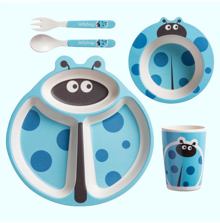 Tiny Dining Children's Bamboo Set Blue Ladybird - 5 Pcs