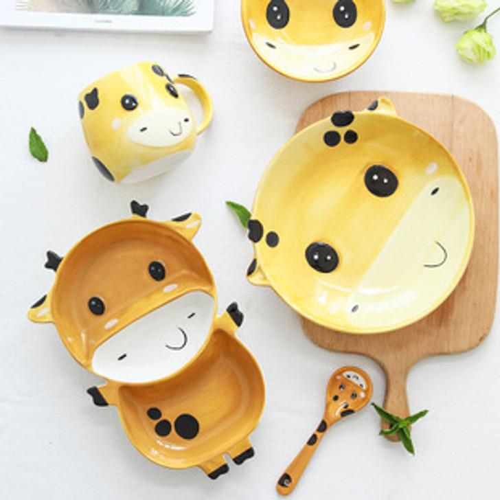 Cute Ceramic Giraffe Porcelain Tableware Set For Kids