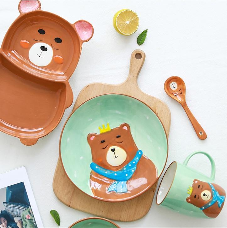 Cute Ceramic Bear Porcelain Tableware Set For Kids