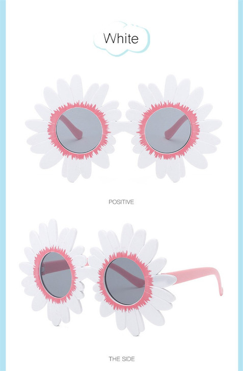 White Sun Flower Round Cute kids sunglasses