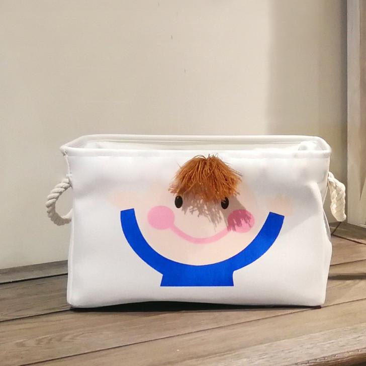 Cream 3D Cute Boy Folding Storage Basket