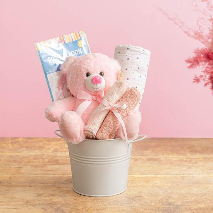 Baby Hamper Toby in Bucket Baby Pink