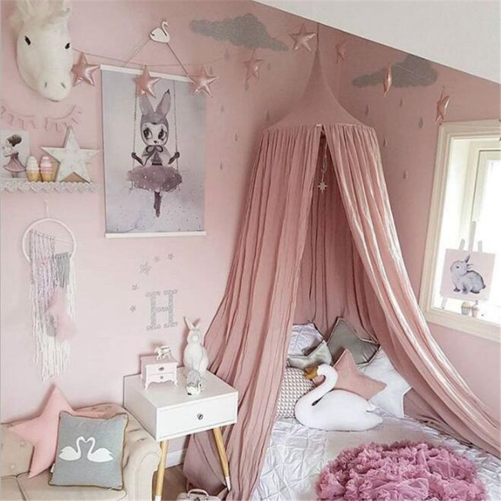 Cotton Canopy Curtains Baby Crib Mosquito Net