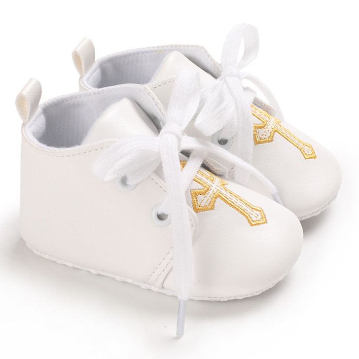 Baby White Leather Shoes Christening Embroidered Gold Cross