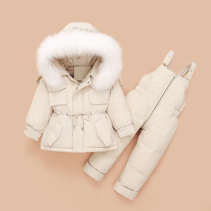 2Pcs Set Baby Hooded Ski Coat and Winter Pants