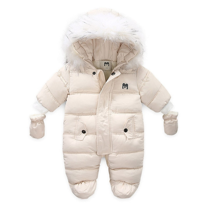 Hooded Snowsuit Romper With Gloves