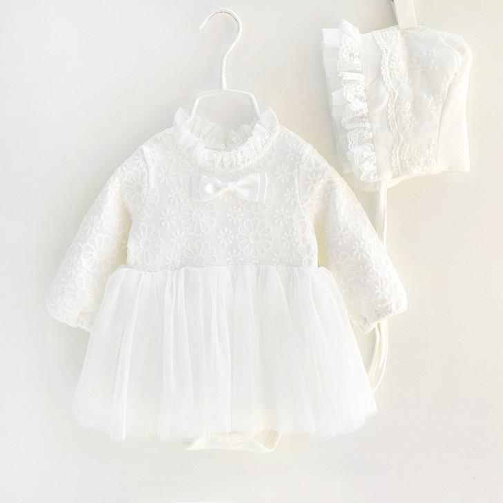 Princess Lace Dresses & Bonnet