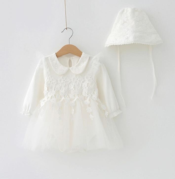 Baby Long Sleeve Flower Lace Dresses & Bonnet