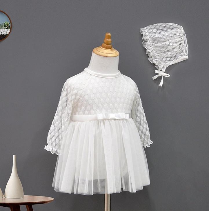 Fairy Lace Long Sleeve Dresses & Bonnet
