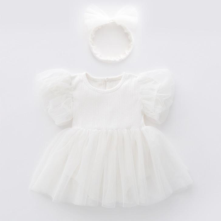 White Chiffon Tutu Skirt Baby Girl Dress