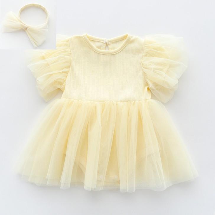 Yellow Chiffon Tutu Skirt Baby Girl Long Sleeve Dress