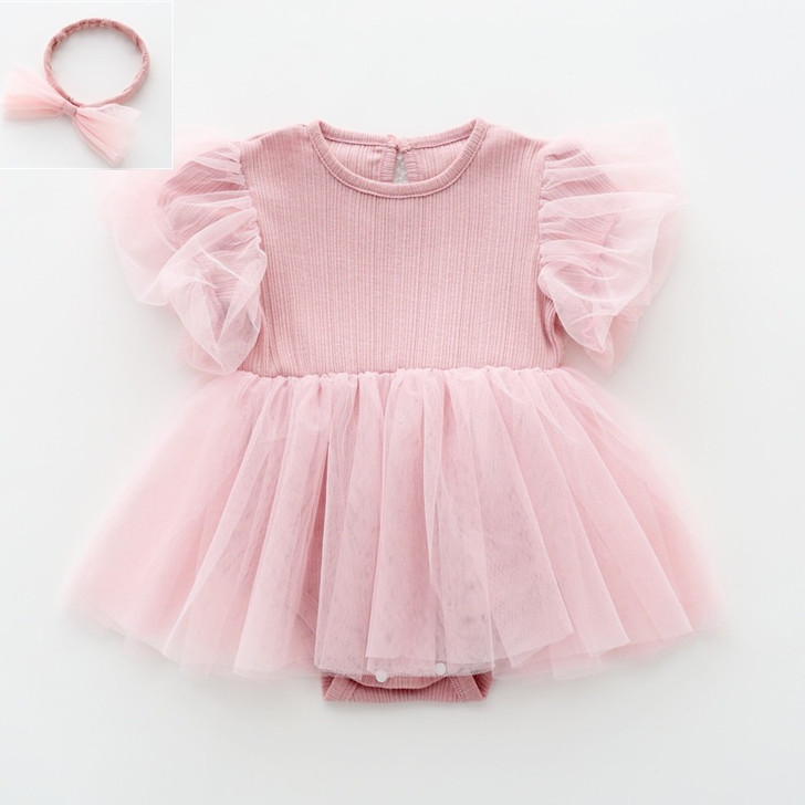 Pink Chiffon Tutu Skirt Baby Girl Dress