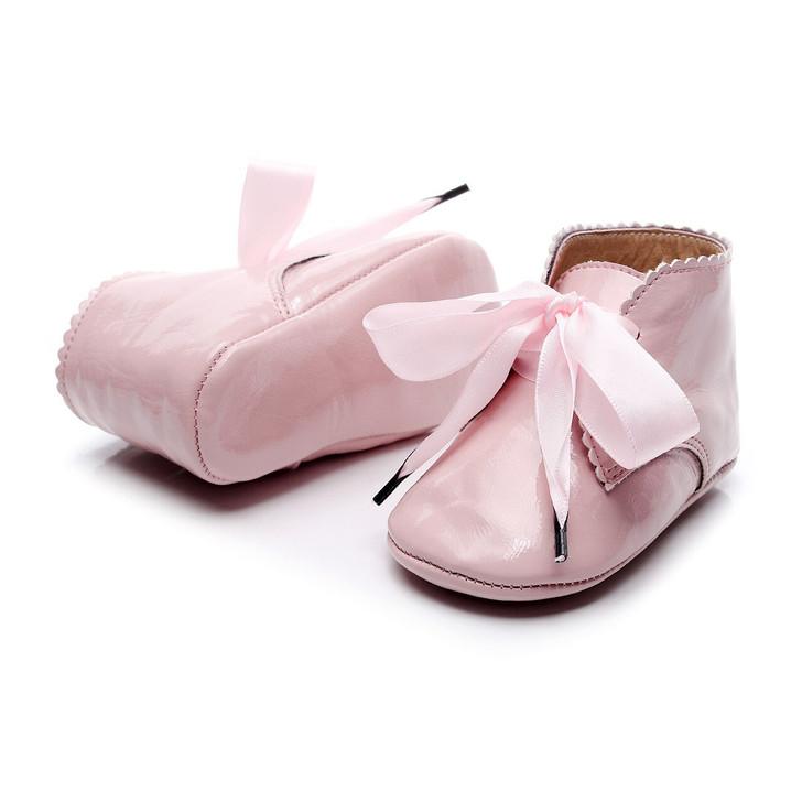 Pink Fancy Boot Satin Ribbon Baby Shoe
