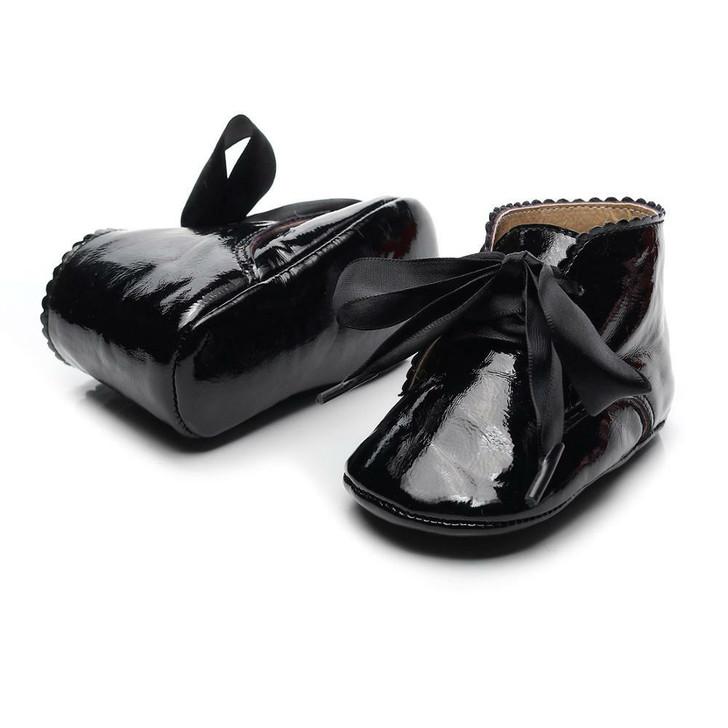 Black Fancy Boot Satin Ribbon Baby Shoe