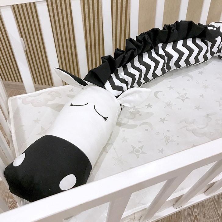 Cute Zebra Crib Bumper Plush Pillows Pads Cradle Bumper