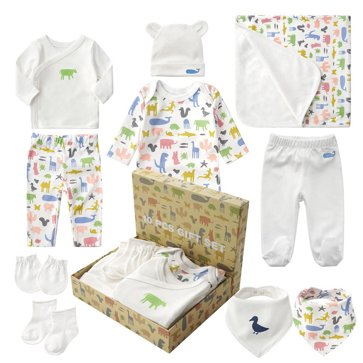 Baby Neutral Coming Home Outfit Gift Box Pink 10Pcs Layette Set