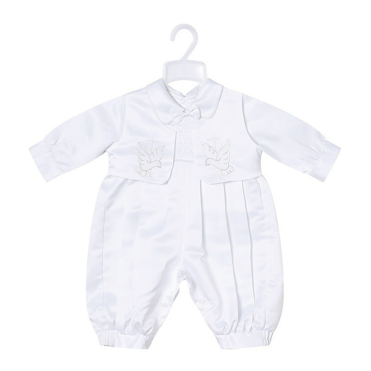Baby Boy Baptism Outfit Long Sleeve Romper Bodysuit with Vest
